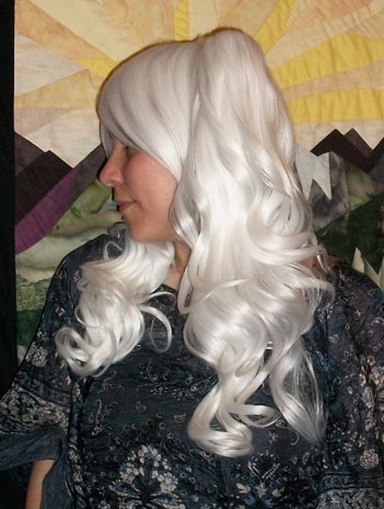 White lolita cosplay wig side view
