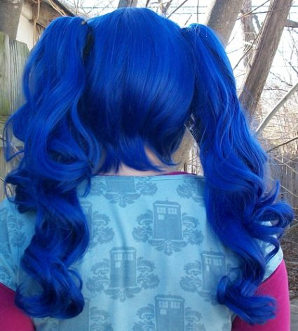 blue ponytail wig back view