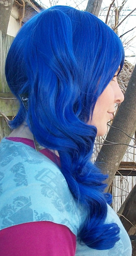 blue ponytail wig side view