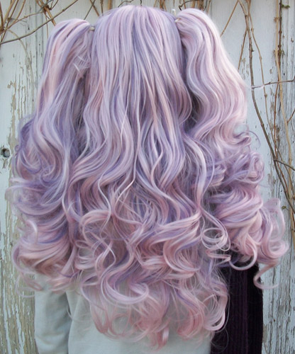Gothic Lolipocalypse Berry Chablis pink and purple lolita wig clip back view