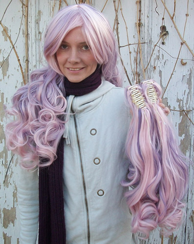 Gothic Lolipocalypse Berry Chablis pink and purple lolita wig clip view