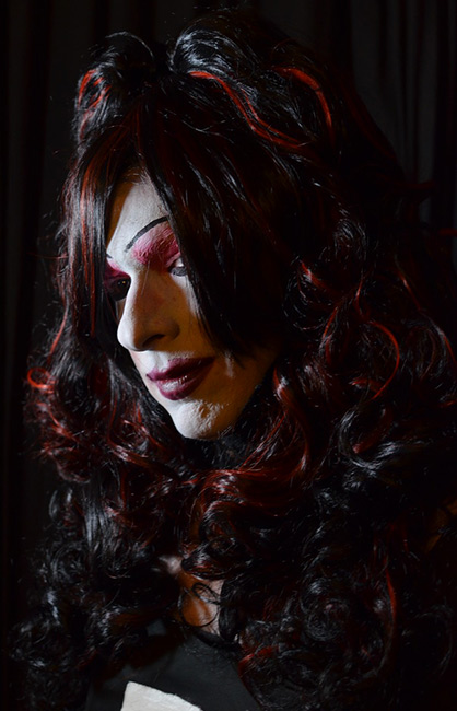 Black Cherry Cordial used as a drag wig