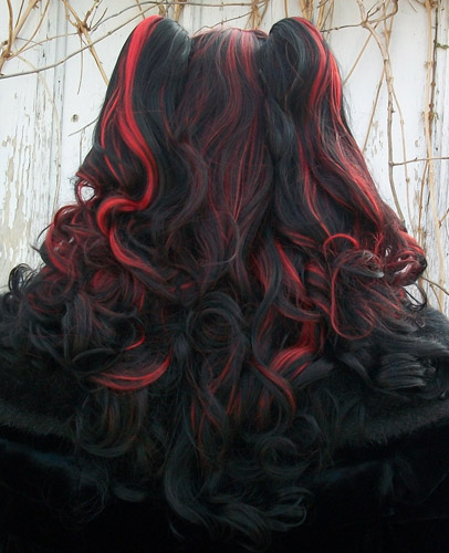 Gothic Lolipocalypse Black Cherry Cordial red and black lolita cosplay wig back view