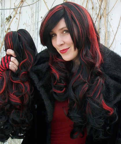 Gothic Lolipocalypse Black Cherry Cordial red and black lolita cosplay wig clip view
