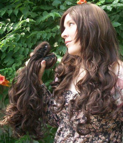 Gothic Lolipocalypse Cafe Frangelico - brown lolita wig base view