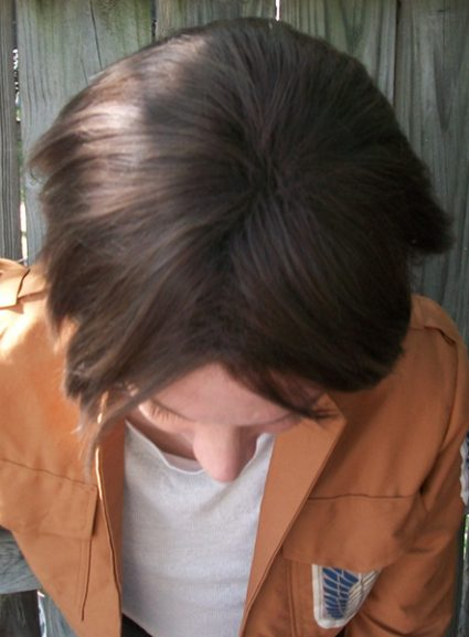 Eren cosplay wig top view