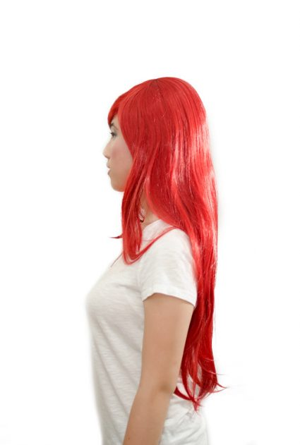 Erza cosplay wig side view