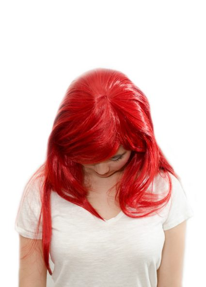 Erza cosplay wig top view