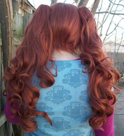 Auburn lolita wig back view