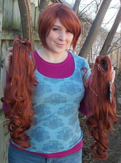 Auburn lolita wig clip view