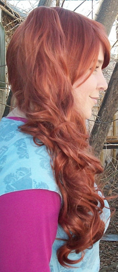 Auburn lolita wig side view