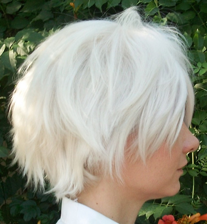 Clear cosplay wig side view