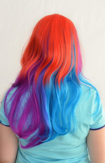 Rainbow Dash cosplay wig back view