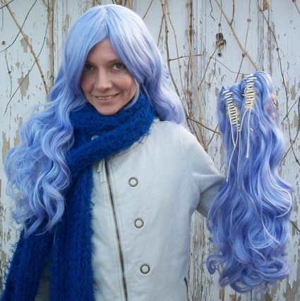 Gothic Lolipocalypse Sapphire Champagne - lavender lolita cosplay wig clip view