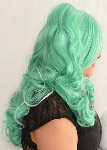 Gothic Lolipocalypse Mint Julep - seafoam lolita wig side view