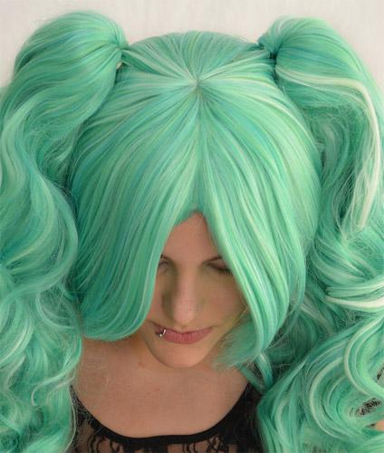 Gothic Lolipocalypse Mint Julep - seafoam lolita wig top view