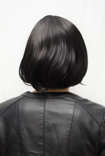black bob cosplay wig back view