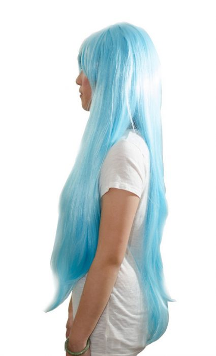 Light blue cosplay wig side view
