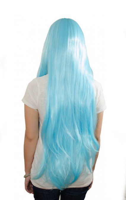 Light blue cosplay wig back view