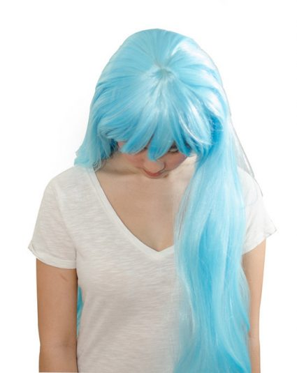 Light blue cosplay wig top view
