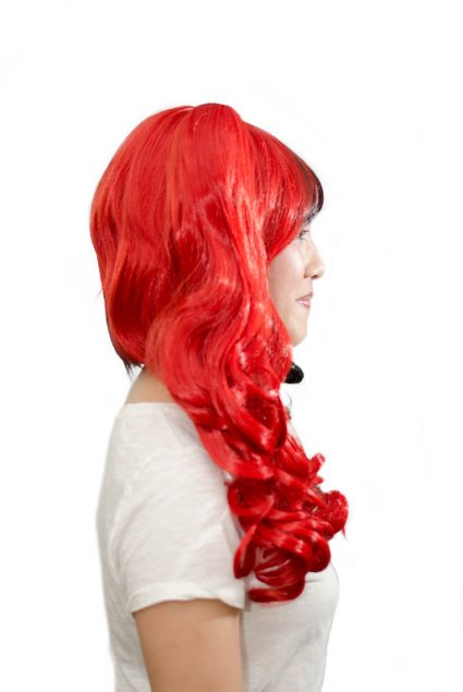 Harley Quinn cosplay wig side view