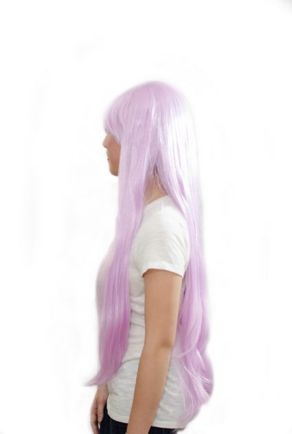 long lavender wig side view
