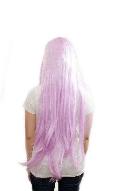 long lavender wig back view