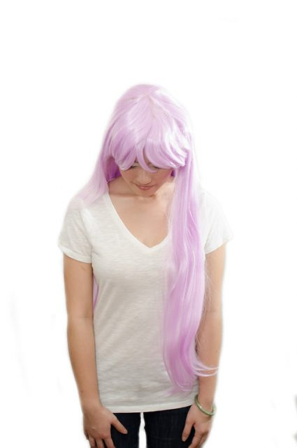 long lavender wig top view