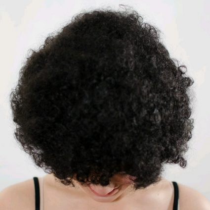 afro wig top view