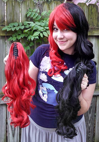 Harley Quinn wig clip view
