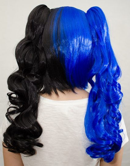 blue and black split ponytail wig back view