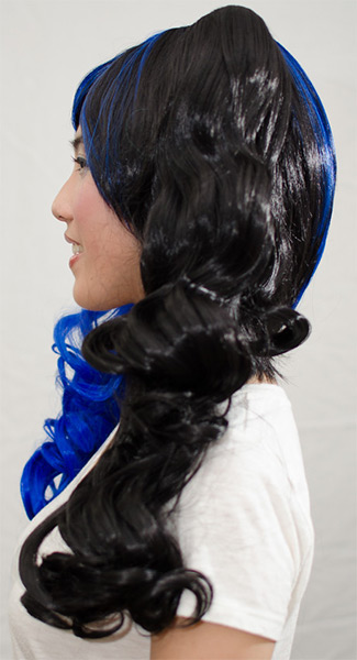 blue and black split ponytail wig side view