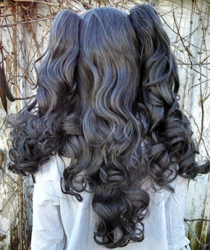 dark gray gothic loli wig back view