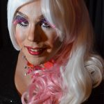 pink and white drag wig