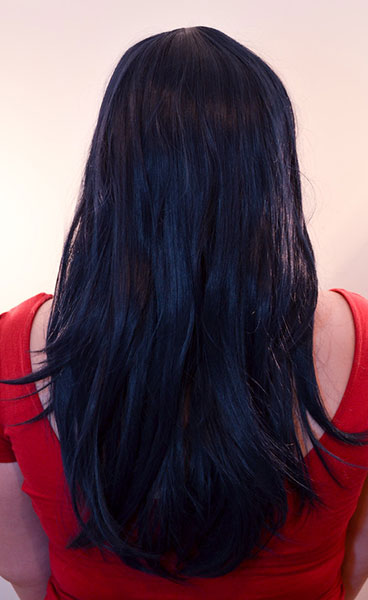 Marinette wig back view (ponytails undone)