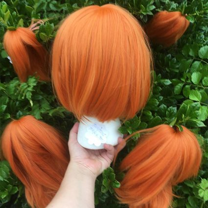 Neon cosplay wig back view without tails attached