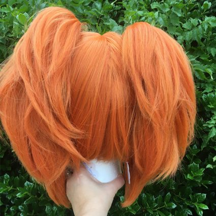Neon cosplay wig back view with tails attached