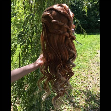 Aloy cosplay wig 3/4th back view