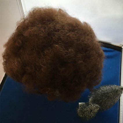 Bob Ross cosplay wig top view