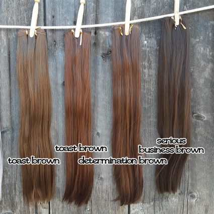 wefts in brown