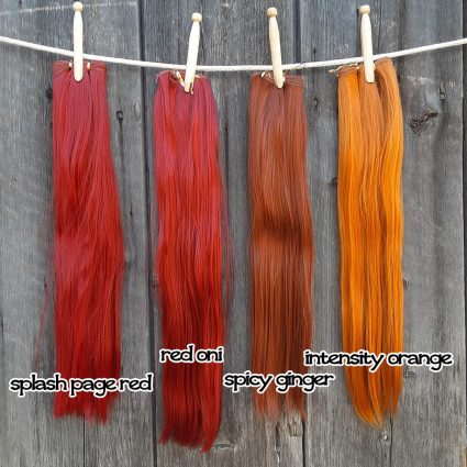 wefts in red and orange