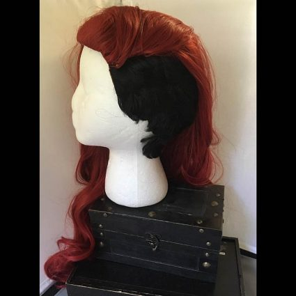 Aubrey cosplay wig side view hair swept up and over