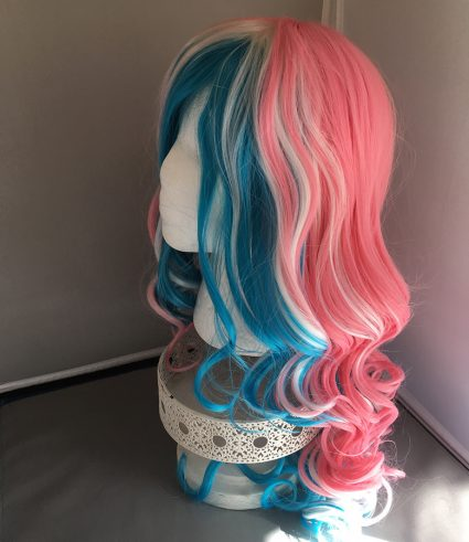 Trans flag wig left side view