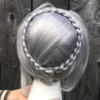 Gray cosplay wig back view