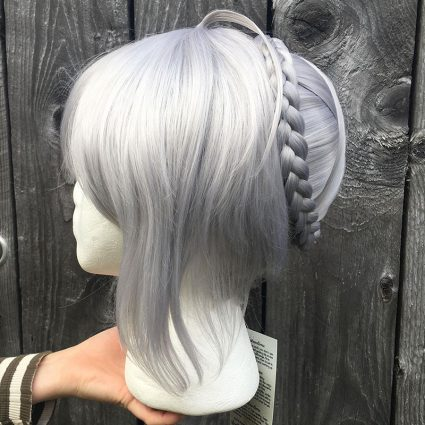 Gray cosplay wig side view
