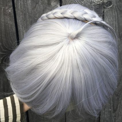 Gray cosplay wig top view