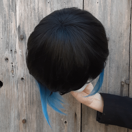 Inosuke cosplay wig top view