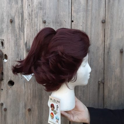 Tanjiro cosplay wig view with ponytail