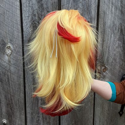 Kyojuro cosplay wig back view