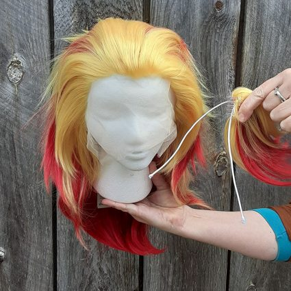 Kyojuro cosplay wig clip view